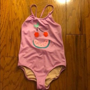 Crewcuts fruit face swimsuit 10 pink, new